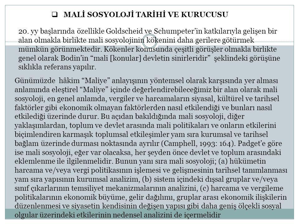  MALİ SOSYOLOJİ TARİHİ VE KURUCUSU 20.