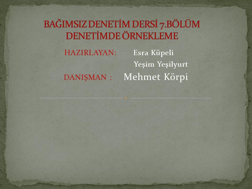 HAZIRLAYAN: Esra Küpeli Yeşim Yeşilyurt DANIŞMAN : Mehmet Körpi