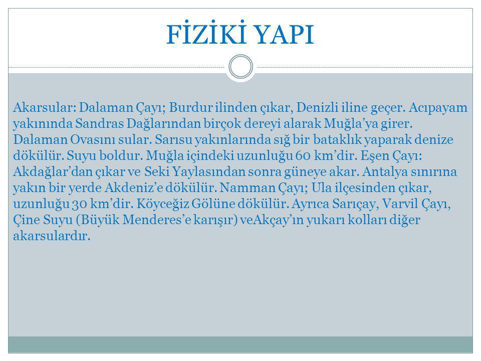 FİZİKİ YAPI Akarsular: Dalaman Çayı; Burdur ilinden çıkar, Denizli iline geçer.