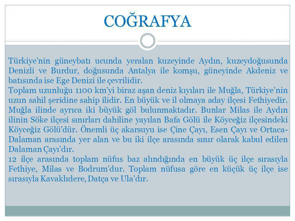 COĞRAFYA Türkiye nin güneybatı ucunda yeralan kuzeyinde Aydın, kuzeydoğusunda Denizli ve Burdur, doğusunda Antalya ile komşu, güneyinde Akdeniz ve batısında ise Ege Denizi ile çevrilidir.
