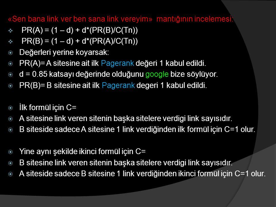 «Sen bana link ver ben sana link vereyim» mantığının incelemesi:  PR(A) = (1 – d) + d*(PR(B)/C(Tn))  PR(B) = (1 – d) + d*(PR(A)/C(Tn))  Değerleri yerine koyarsak:  PR(A)= A sitesine ait ilk Pagerank değeri 1 kabul edildi.