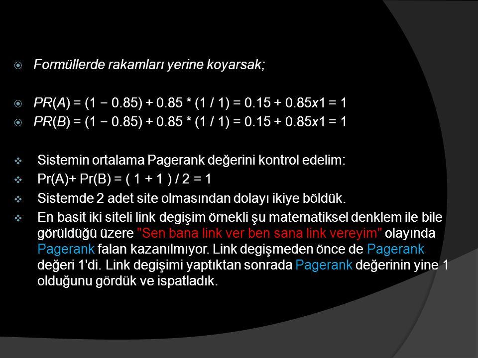  Formüllerde rakamları yerine koyarsak;  PR(A) = (1 − 0.85) + 0.85 * (1 / 1) = 0.15 + 0.85x1 = 1  PR(B) = (1 − 0.85) + 0.85 * (1 / 1) = 0.15 + 0.85x1 = 1  Sistemin ortalama Pagerank değerini kontrol edelim:  Pr(A)+ Pr(B) = ( 1 + 1 ) / 2 = 1  Sistemde 2 adet site olmasından dolayı ikiye böldük.
