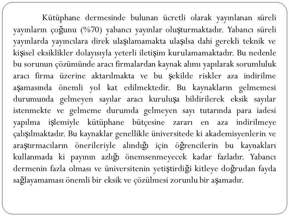 Kütüphane dermesinde bulunan ücretli olarak yayınlanan süreli yayınların ço ğ unu (%70) yabancı yayınlar olu ş turmaktadır. Yabancı süreli yayınlarda