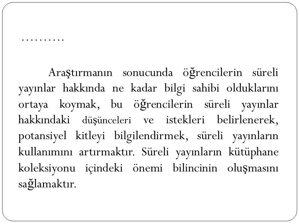 Merkez kütüphanesinde süreli yayınların sa ğ lanması veri tabanlarının sundukları dergi listelerinin niteli ğ ine göre belirlenmektedir.