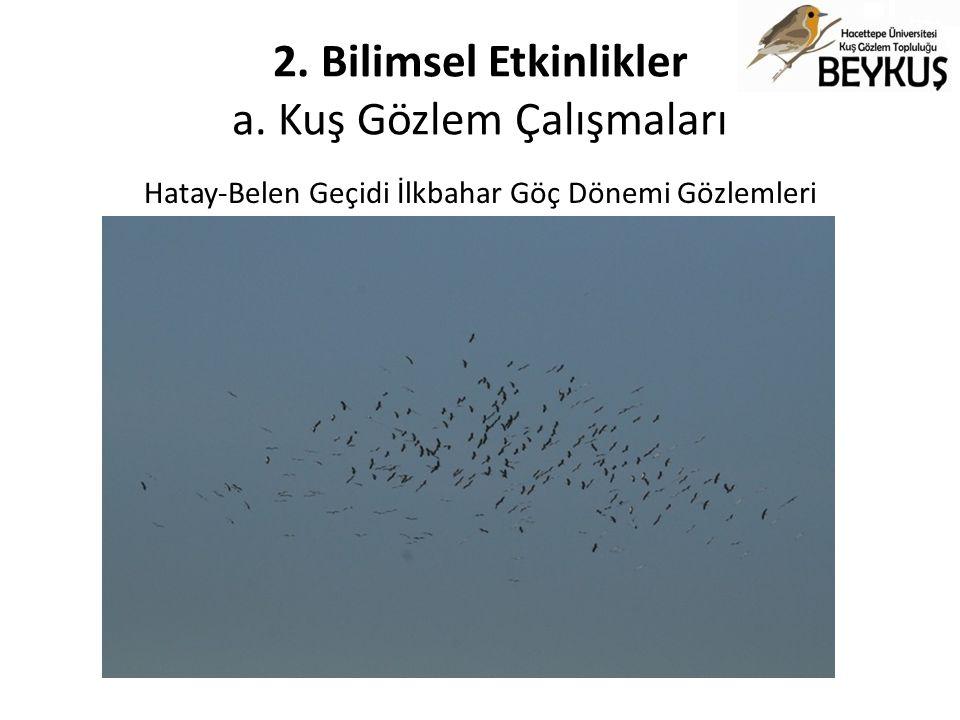 2. Bilimsel Etkinlikler a. Kuş Gözlem Çalışmaları Hatay-Belen Geçidi İlkbahar Göç Dönemi Gözlemleri