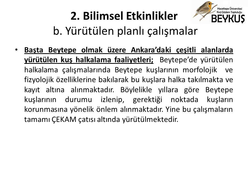 2. Bilimsel Etkinlikler b. Yürütülen planlı çalışmalar Başta Beytepe olmak üzere Ankara'daki çeşitli alanlarda yürütülen kuş halkalama faaliyetleri; B