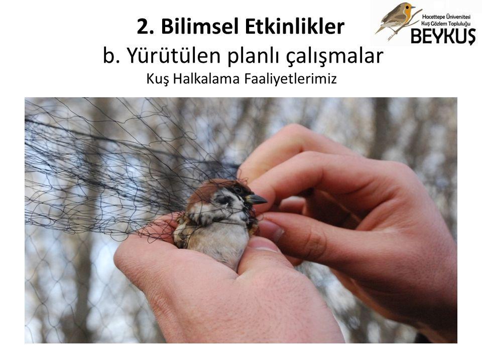 Kuş Halkalama Faaliyetlerimiz 2. Bilimsel Etkinlikler b. Yürütülen planlı çalışmalar