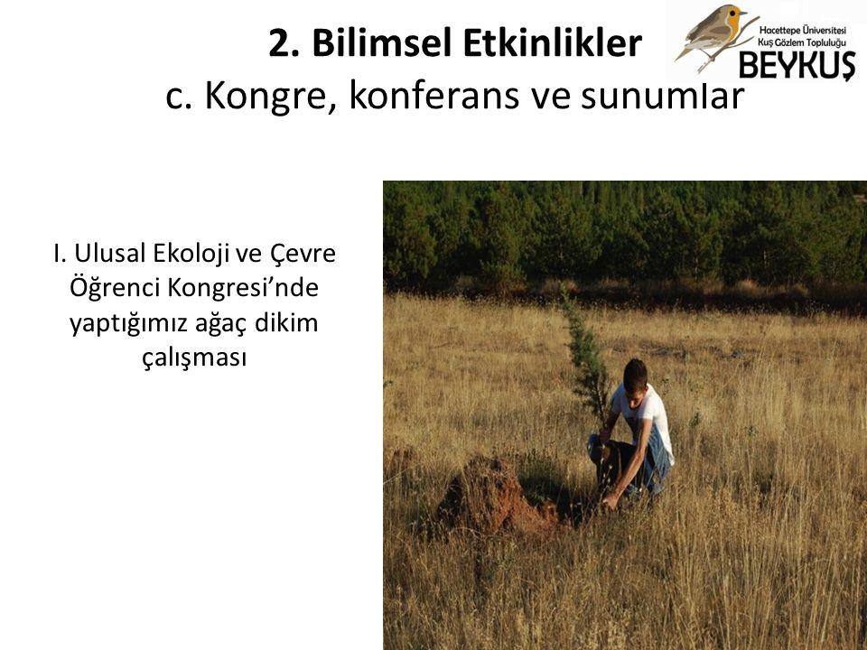 I. Ulusal Ekoloji ve Çevre Öğrenci Kongresi'nde yaptığımız ağaç dikim çalışması 2. Bilimsel Etkinlikler c. Kongre, konferans ve sunumlar
