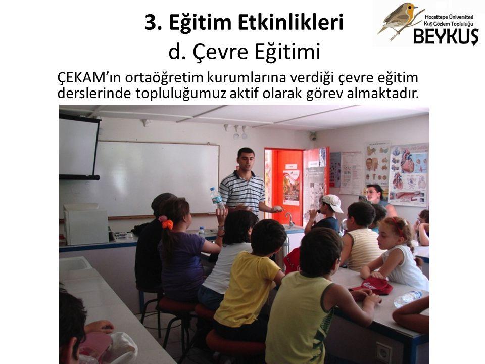3. Eğitim Etkinlikleri d. Çevre Eğitimi ÇEKAM'ın ortaöğretim kurumlarına verdiği çevre eğitim derslerinde topluluğumuz aktif olarak görev almaktadır.