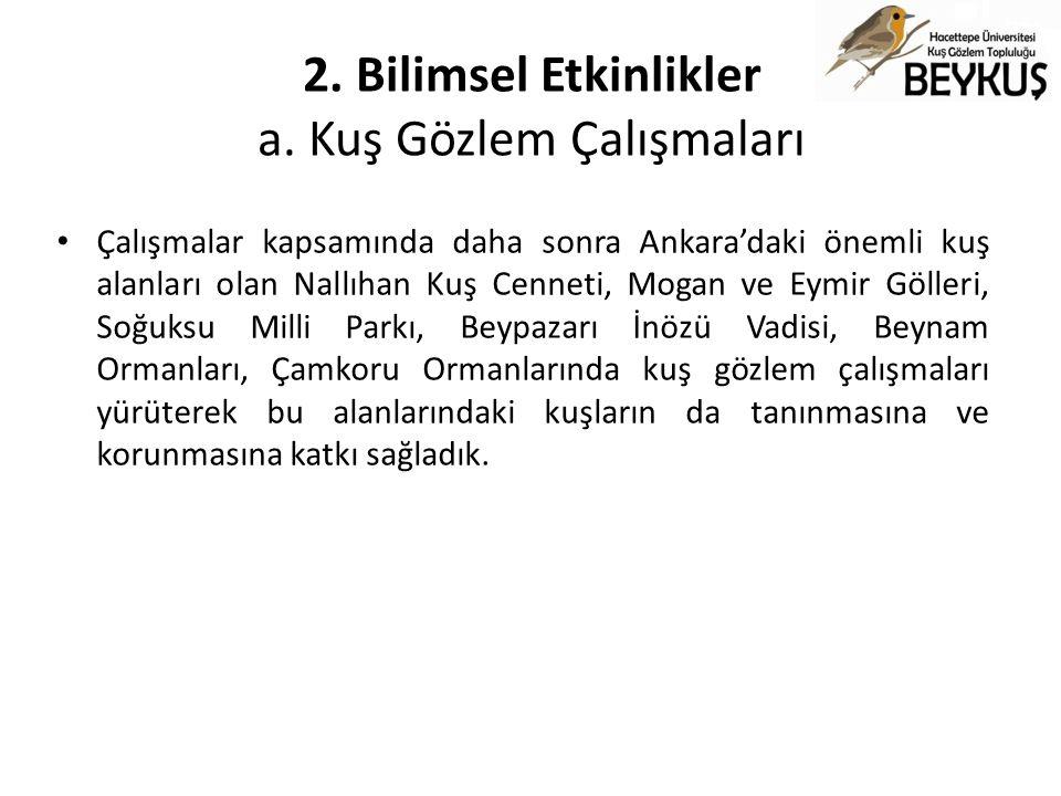 2. Bilimsel Etkinlikler a. Kuş Gözlem Çalışmaları Çalışmalar kapsamında daha sonra Ankara'daki önemli kuş alanları olan Nallıhan Kuş Cenneti, Mogan ve