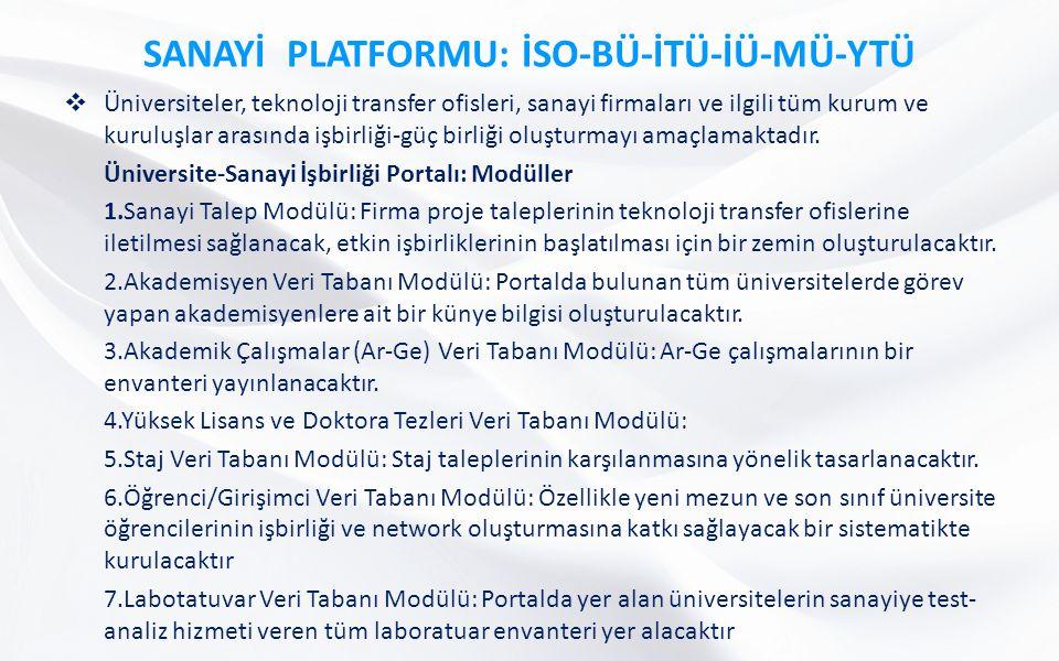 SANAYİ PLATFORMU: İSO-BÜ-İTÜ-İÜ-MÜ-YTÜ  Üniversiteler, teknoloji transfer ofisleri, sanayi firmaları ve ilgili tüm kurum ve kuruluşlar arasında işbirliği-güç birliği oluşturmayı amaçlamaktadır.