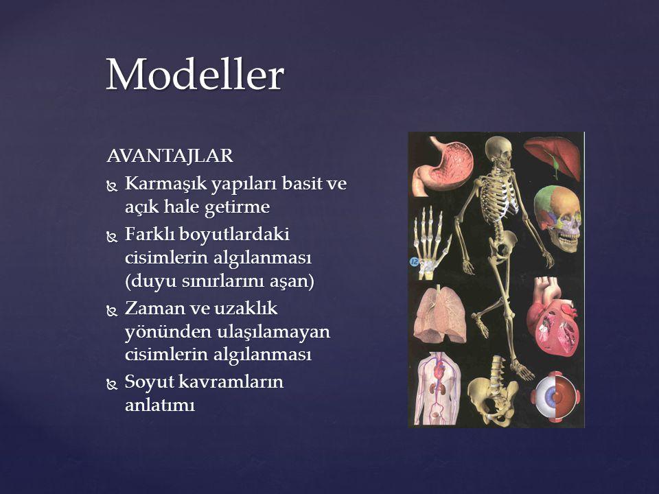 Modeller AVANTAJLAR  Karmaşık yapıları basit ve açık hale getirme  Farklı boyutlardaki cisimlerin algılanması (duyu sınırlarını aşan)  Zaman ve uza