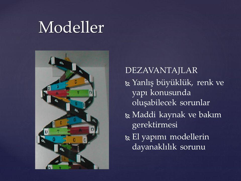 Modeller DEZAVANTAJLAR  Yanlış büyüklük, renk ve yapı konusunda oluşabilecek sorunlar  Maddi kaynak ve bakım gerektirmesi  El yapımı modellerin day