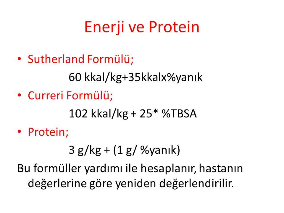 Enerji ve Protein Sutherland Formülü; 60 kkal/kg+35kkalx%yanık Curreri Formülü; 102 kkal/kg + 25* %TBSA Protein; 3 g/kg + (1 g/ %yanık) Bu formüller yardımı ile hesaplanır, hastanın değerlerine göre yeniden değerlendirilir.