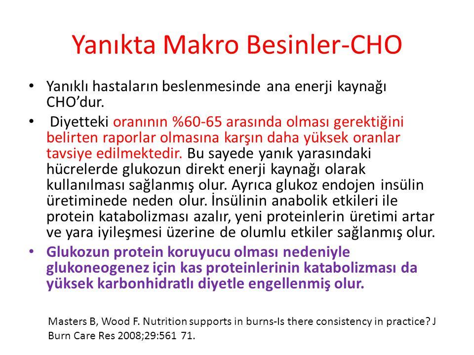 Yanıkta Makro Besinler-CHO Yanıklı hastaların beslenmesinde ana enerji kaynağı CHO'dur. Diyetteki oranının %60-65 arasında olması gerektiğini belirten