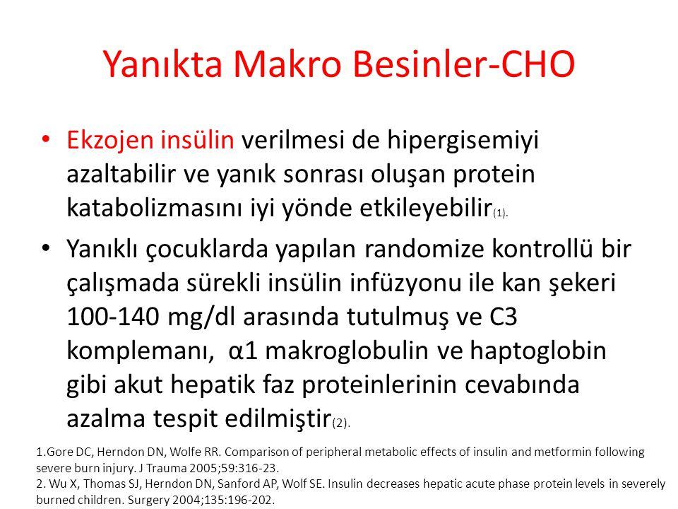 Yanıkta Makro Besinler-CHO Ekzojen insülin verilmesi de hipergisemiyi azaltabilir ve yanık sonrası oluşan protein katabolizmasını iyi yönde etkileyebilir (1).