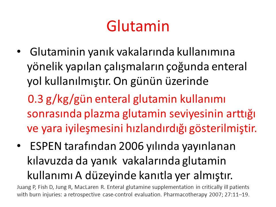 Glutamin Glutaminin yanık vakalarında kullanımına yönelik yapılan çalışmaların çoğunda enteral yol kullanılmıştır. On günün üzerinde 0.3 g/kg/gün ente