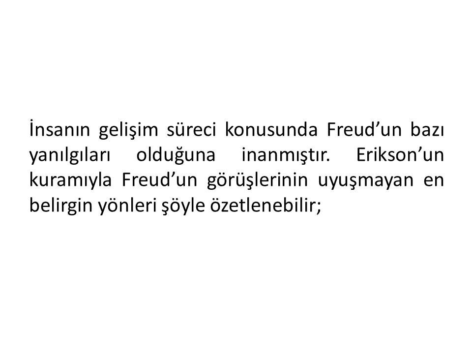 İnsanın gelişim süreci konusunda Freud'un bazı yanılgıları olduğuna inanmıştır. Erikson'un kuramıyla Freud'un görüşlerinin uyuşmayan en belirgin yönle