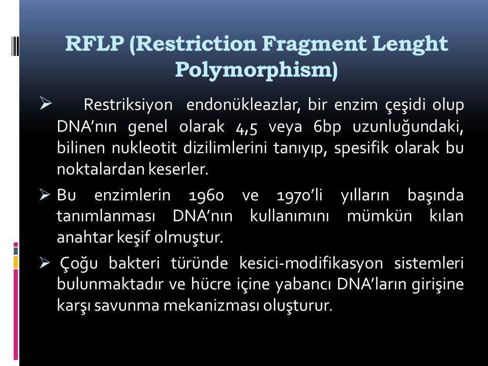 RFLP (Restriction Fragment Lenght Polymorphism)  Restriksiyon endonükleazlar, bir enzim çeşidi olup DNA'nın genel olarak 4,5 veya 6bp uzunluğundaki,