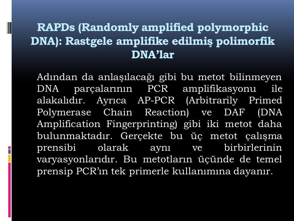 RAPDs (Randomly amplified polymorphic DNA): Rastgele amplifike edilmiş polimorfik DNA'lar Adından da anlaşılacağı gibi bu metot bilinmeyen DNA parçala