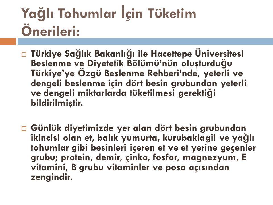 Ya ğ lı Tohumlar İ çin Tüketim Önerileri:  Türkiye Sa ğ lık Bakanlı ğ ı ile Hacettepe Üniversitesi Beslenme ve Diyetetik Bölümü'nün oluşturdu ğ u Türkiye'ye Özgü Beslenme Rehberi'nde, yeterli ve dengeli beslenme için dört besin grubundan yeterli ve dengeli miktarlarda tüketilmesi gerekti ğ i bildirilmiştir.