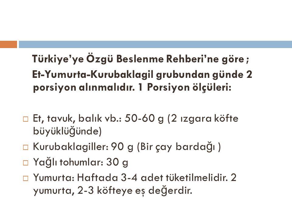 Türkiye'ye Özgü Beslenme Rehberi'ne göre ; Et-Yumurta-Kurubaklagil grubundan günde 2 porsiyon alınmalıdır. 1 Porsiyon ölçüleri:  Et, tavuk, balık vb.