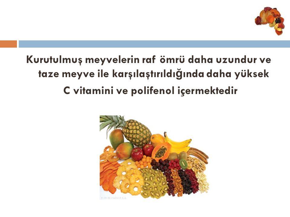 Kurutulmuş meyvelerin raf ömrü daha uzundur ve taze meyve ile karşılaştırıldı ğ ında daha yüksek C vitamini ve polifenol içermektedir