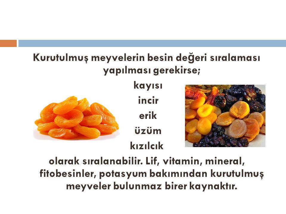 Kurutulmuş meyvelerin besin de ğ eri sıralaması yapılması gerekirse; kayısı incir erik üzüm kızılcık olarak sıralanabilir. Lif, vitamin, mineral, fito
