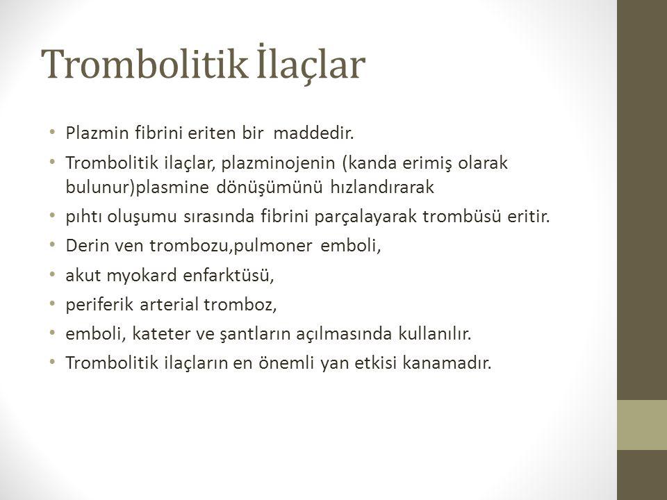 Trombolitik İlaçlar Plazmin fibrini eriten bir maddedir. Trombolitik ilaçlar, plazminojenin (kanda erimiş olarak bulunur)plasmine dönüşümünü hızlandır