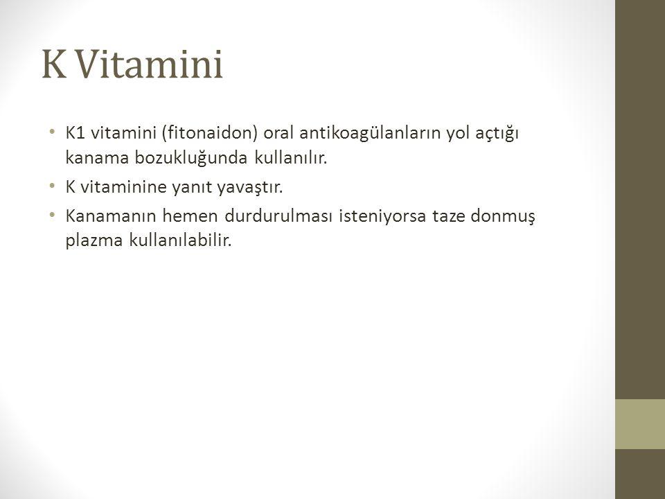 K Vitamini K1 vitamini (fitonaidon) oral antikoagülanların yol açtığı kanama bozukluğunda kullanılır. K vitaminine yanıt yavaştır. Kanamanın hemen dur
