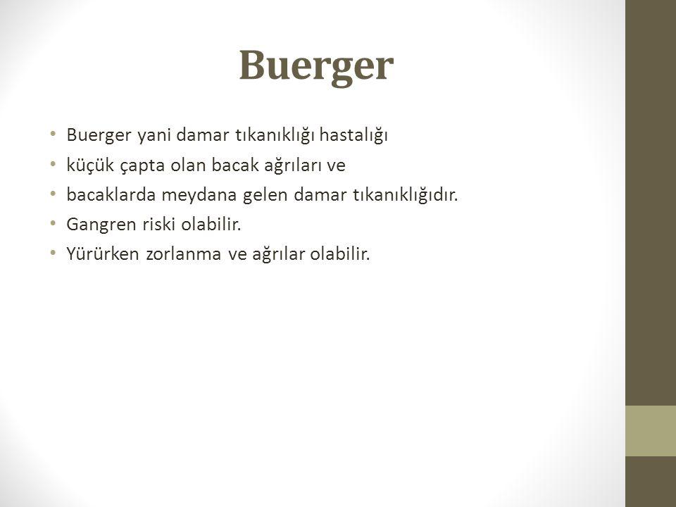 Buerger Buerger yani damar tıkanıklığı hastalığı küçük çapta olan bacak ağrıları ve bacaklarda meydana gelen damar tıkanıklığıdır. Gangren riski olabi