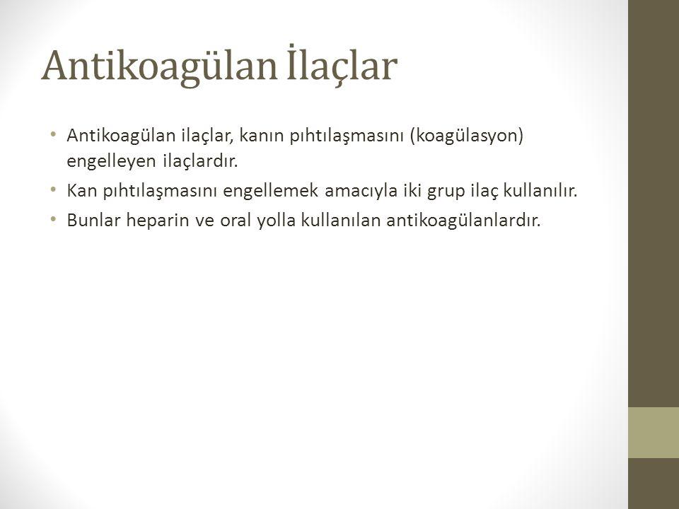 Antikoagülan İlaçlar Antikoagülan ilaçlar, kanın pıhtılaşmasını (koagülasyon) engelleyen ilaçlardır. Kan pıhtılaşmasını engellemek amacıyla iki grup i