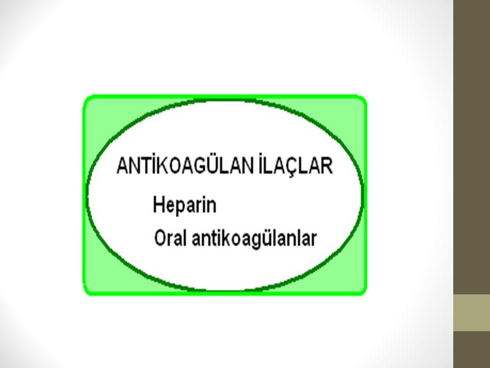 Heparin (Fragmin, Liquemin) Heparin enjeksiyon şeklinde uygulanan, etkisi hızlı antikoagülandır.