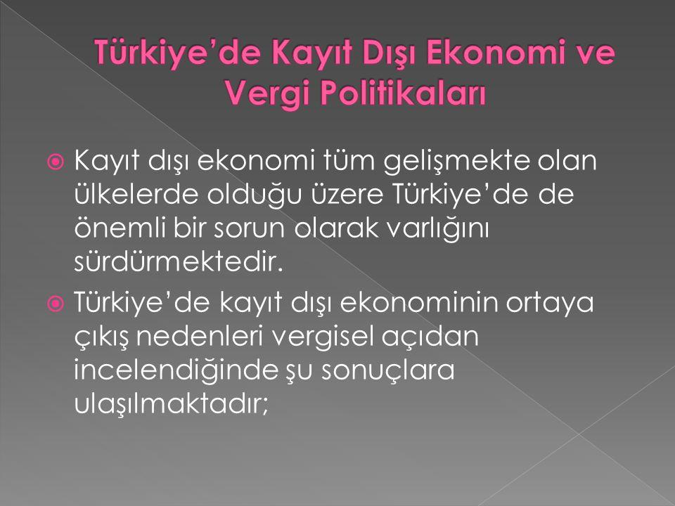  Kayıt dışı ekonomi tüm gelişmekte olan ülkelerde olduğu üzere Türkiye'de de önemli bir sorun olarak varlığını sürdürmektedir.  Türkiye'de kayıt dış