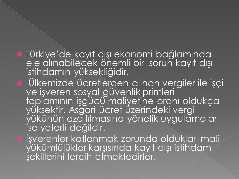  Türkiye'de kayıt dışı ekonomi bağlamında ele alınabilecek önemli bir sorun kayıt dışı istihdamın yüksekliğidir.  Ülkemizde ücretlerden alınan vergi