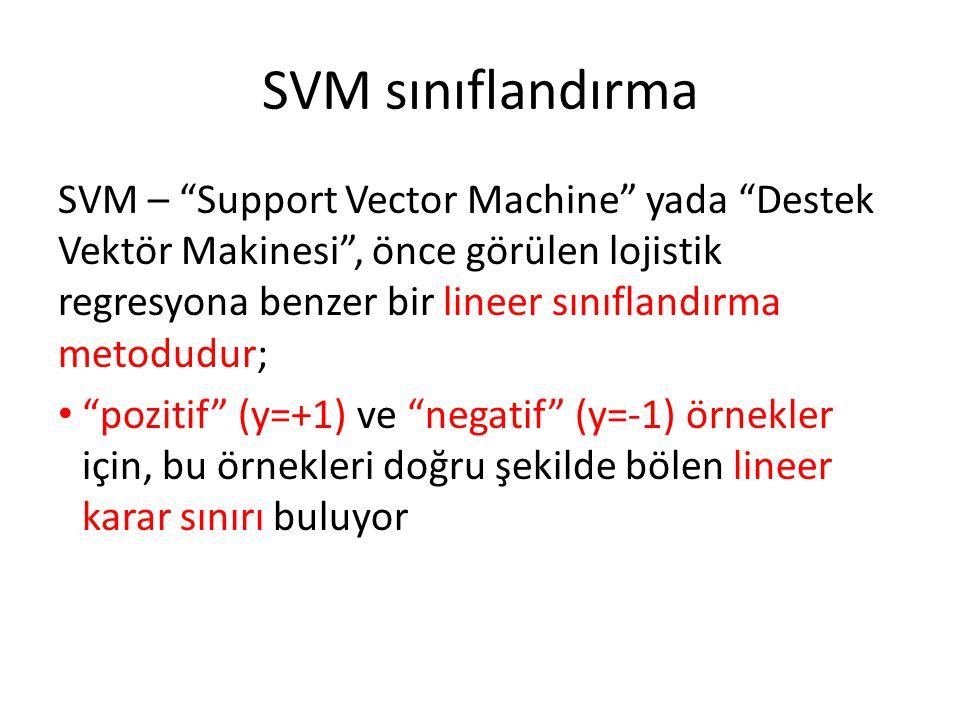 """SVM sınıflandırma SVM – """"Support Vector Machine"""" yada """"Destek Vektör Makinesi"""", önce görülen lojistik regresyona benzer bir lineer sınıflandırma metod"""