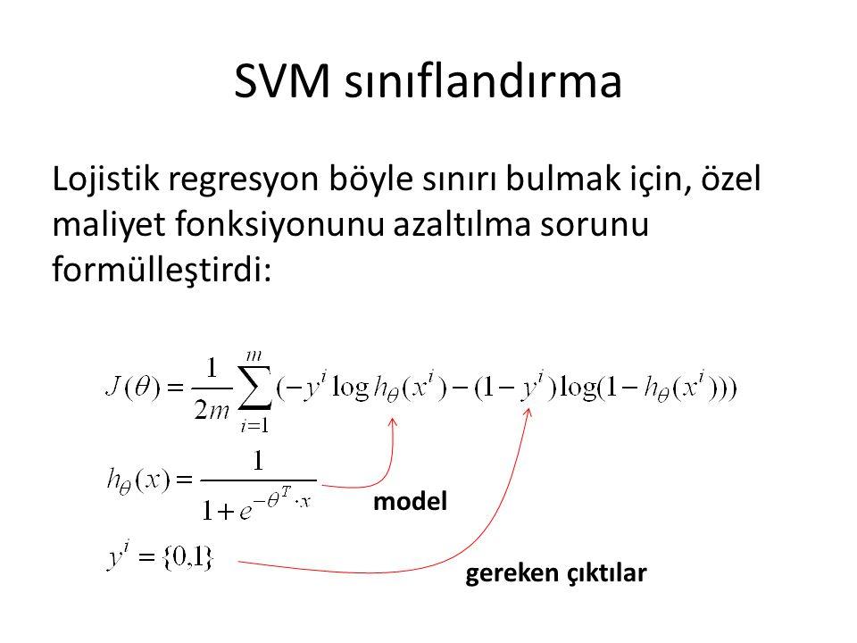 SVM sınıflandırma Lojistik regresyon böyle sınırı bulmak için, özel maliyet fonksiyonunu azaltılma sorunu formülleştirdi: model gereken çıktılar