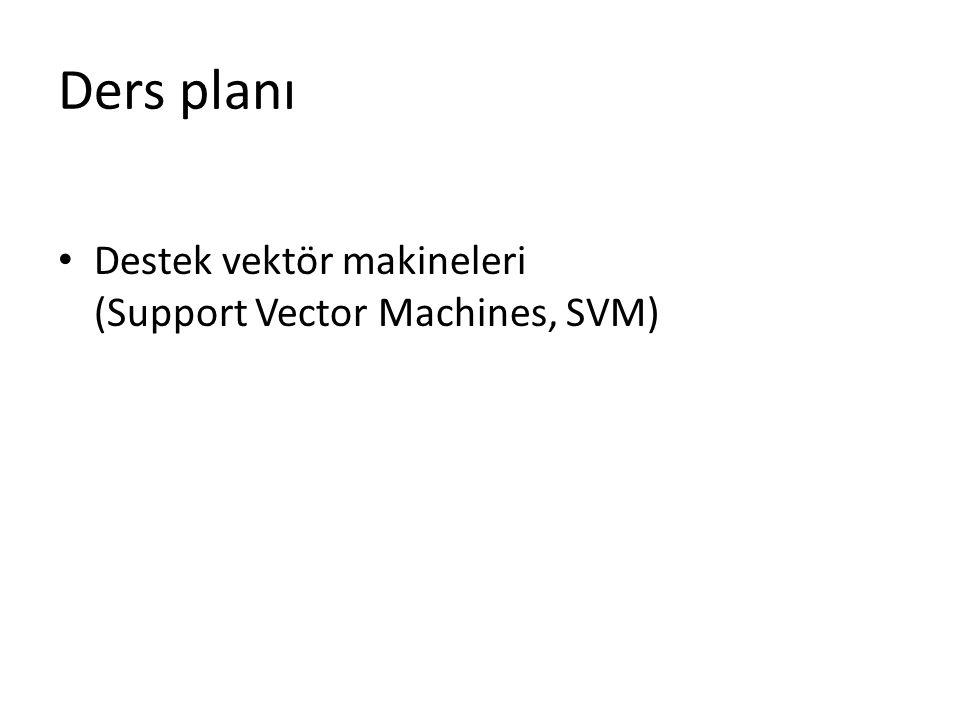 Ders planı Destek vektör makineleri (Support Vector Machines, SVM)