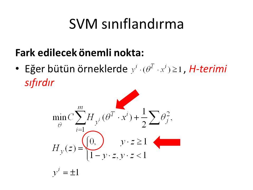 SVM sınıflandırma Fark edilecek önemli nokta: Eğer bütün örneklerde, H-terimi sıfırdır