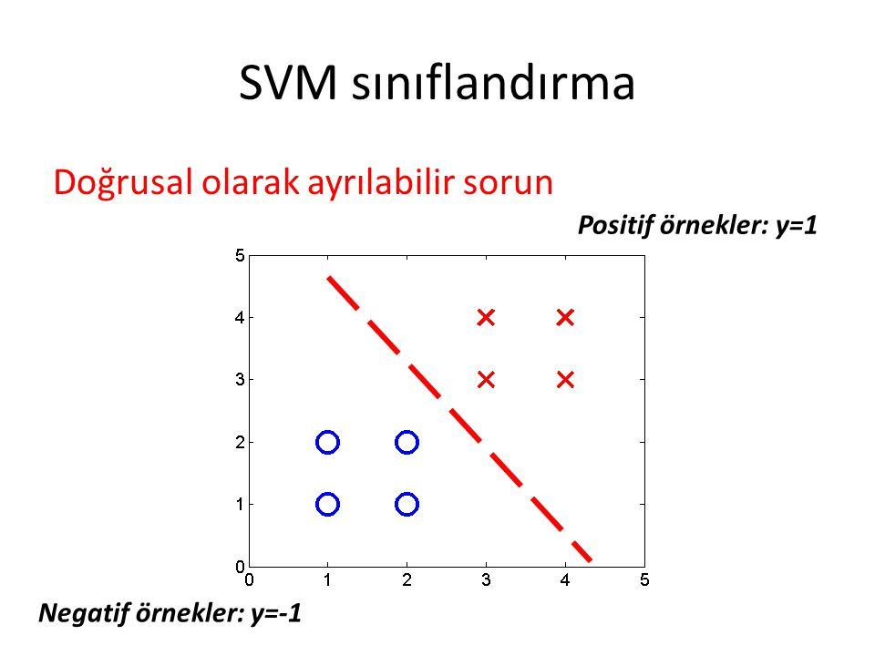 SVM sınıflandırma Doğrusal olarak ayrılabilir sorun Positif örnekler: y=1 Negatif örnekler: y=-1