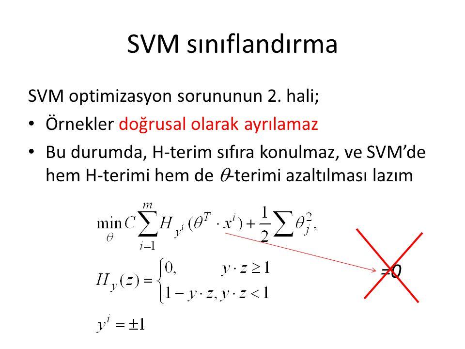 SVM sınıflandırma SVM optimizasyon sorununun 2. hali; Örnekler doğrusal olarak ayrılamaz Bu durumda, H-terim sıfıra konulmaz, ve SVM'de hem H-terimi h