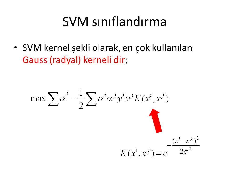 SVM sınıflandırma SVM kernel şekli olarak, en çok kullanılan Gauss (radyal) kerneli dir;