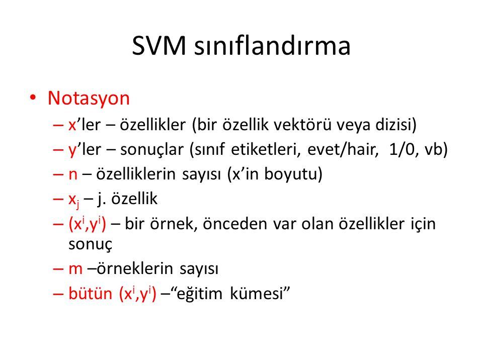 SVM sınıflandırma Notasyon – x'ler – özellikler (bir özellik vektörü veya dizisi) – y'ler – sonuçlar (sınıf etiketleri, evet/hair, 1/0, vb) – n – özel