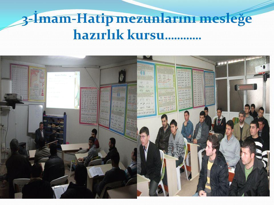 3-İmam-Hatip mezunlarını mesleğe hazırlık kursu …………