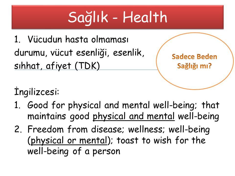 1.Vücudun hasta olmaması durumu, vücut esenliği, esenlik, sıhhat, afiyet (TDK) İngilizcesi: 1.Good for physical and mental well-being; that maintains