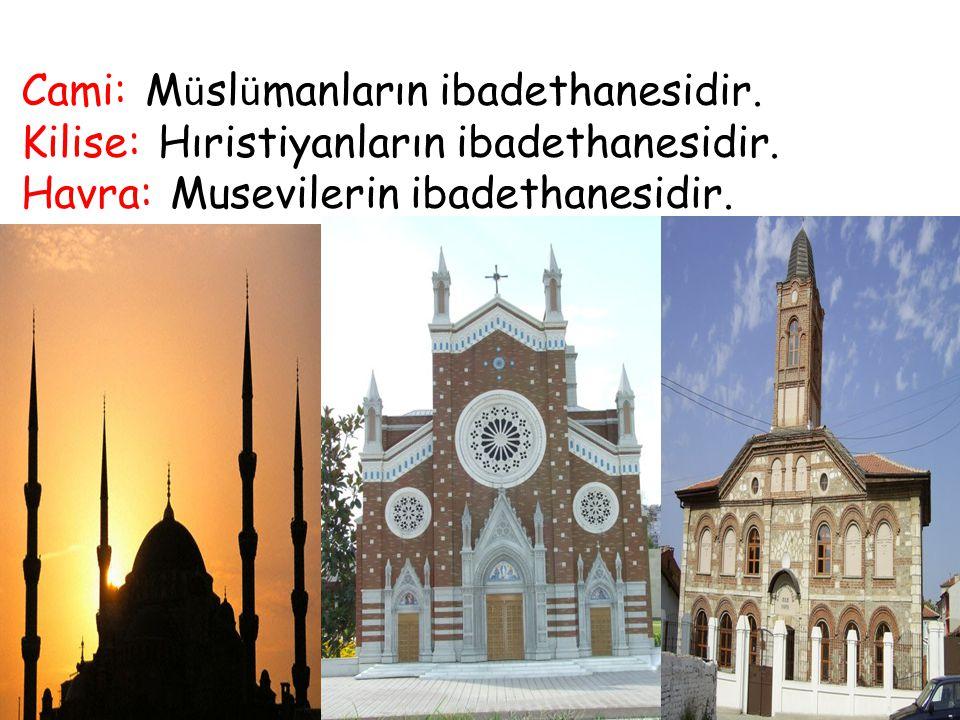 Cami: M ü sl ü manların ibadethanesidir. Kilise: Hıristiyanların ibadethanesidir. Havra: Musevilerin ibadethanesidir.