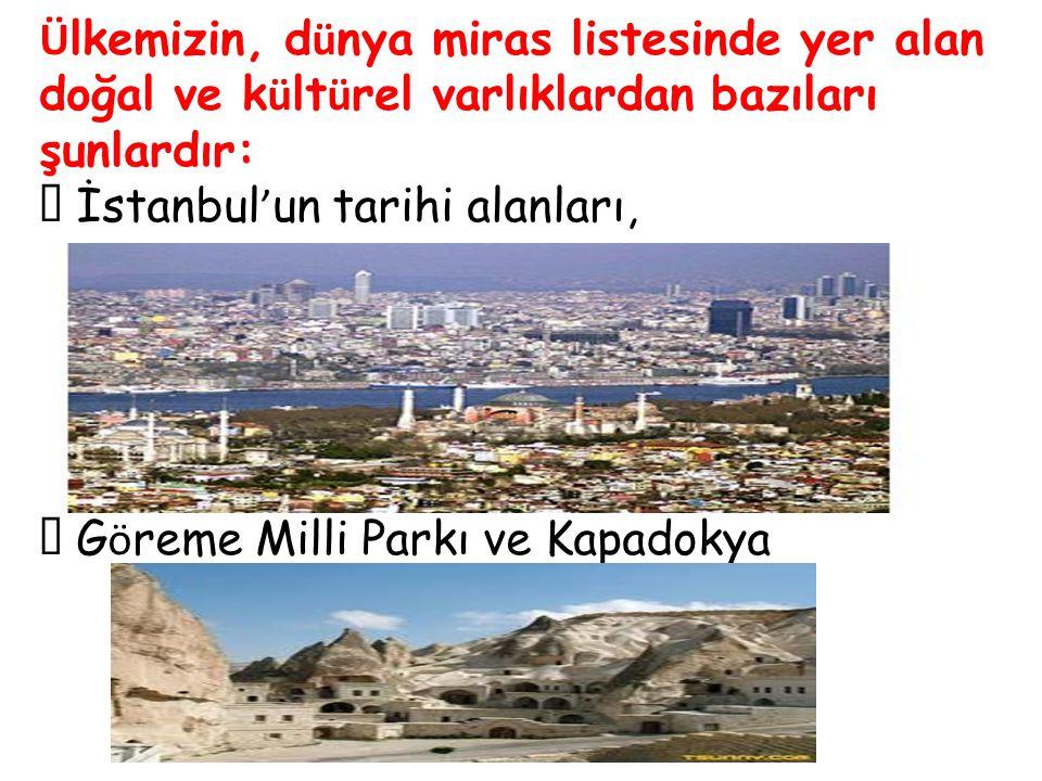 Ü lkemizin, d ü nya miras listesinde yer alan doğal ve k ü lt ü rel varlıklardan bazıları şunlardır:  İstanbul ' un tarihi alanları,  G ö reme Milli