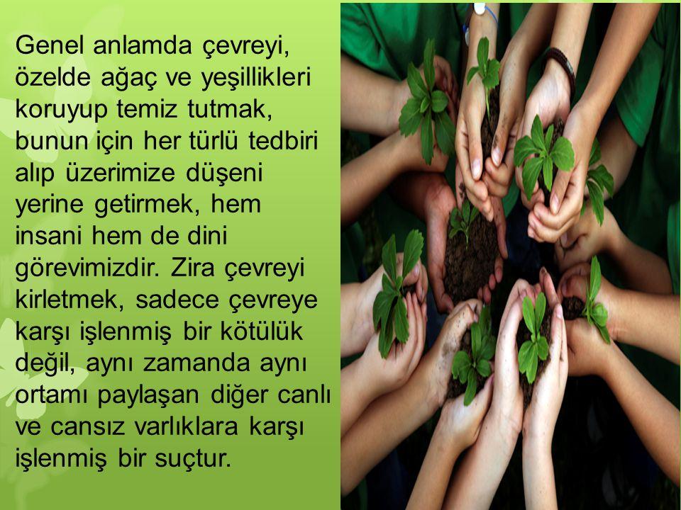 Genel anlamda çevreyi, özelde ağaç ve yeşillikleri koruyup temiz tutmak, bunun için her türlü tedbiri alıp üzerimize düşeni yerine getirmek, hem insan