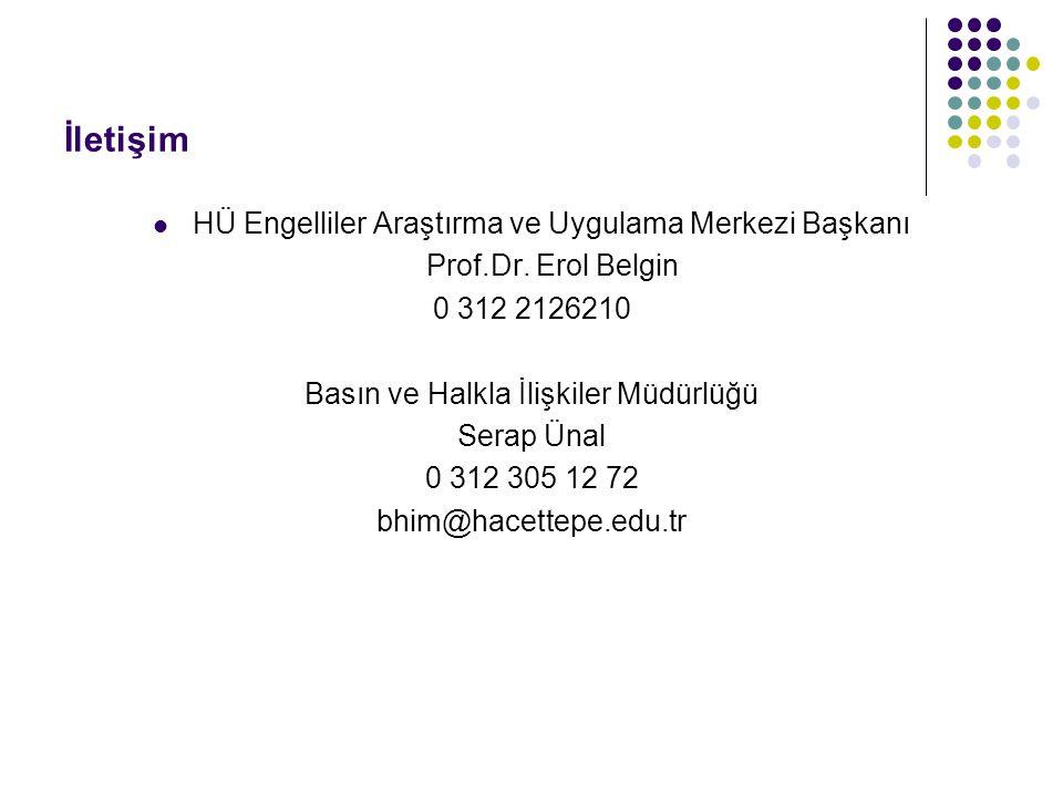 İletişim HÜ Engelliler Araştırma ve Uygulama Merkezi Başkanı Prof.Dr. Erol Belgin 0 312 2126210 Basın ve Halkla İlişkiler Müdürlüğü Serap Ünal 0 312 3