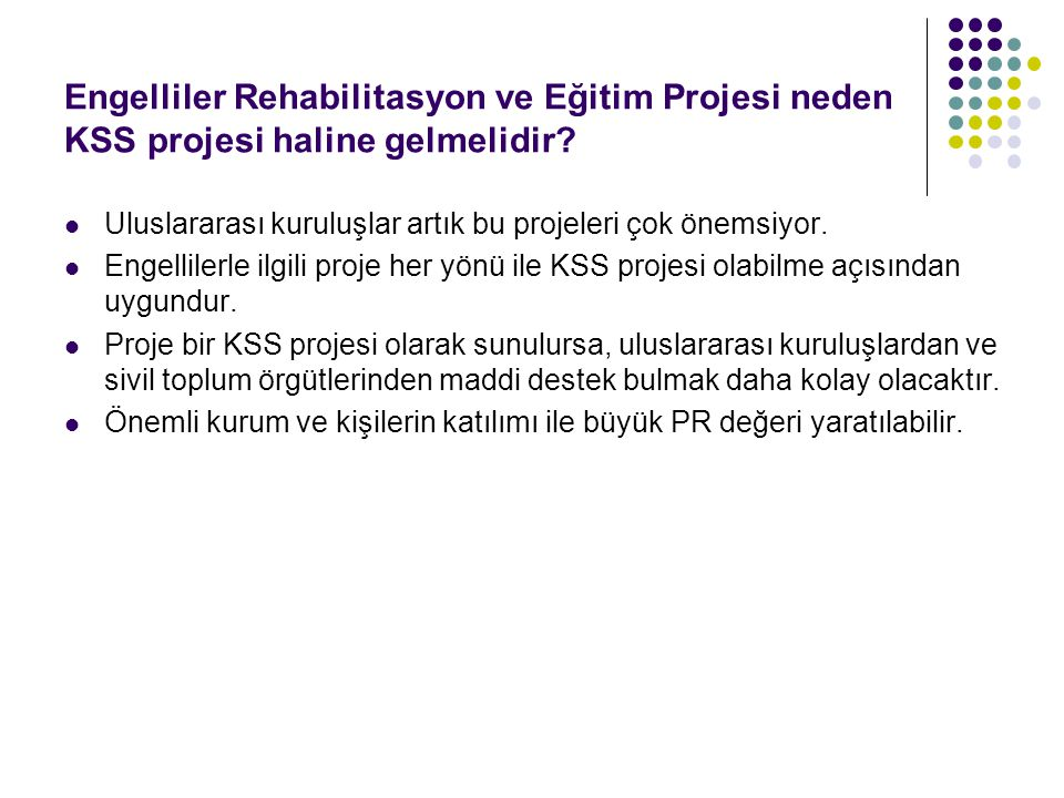 Engelliler Rehabilitasyon ve Eğitim Projesi neden KSS projesi haline gelmelidir? Uluslararası kuruluşlar artık bu projeleri çok önemsiyor. Engellilerl